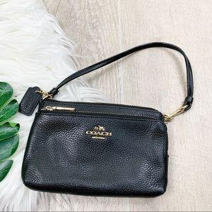 Coach Small Black Leather Purse Mini Bag C3456